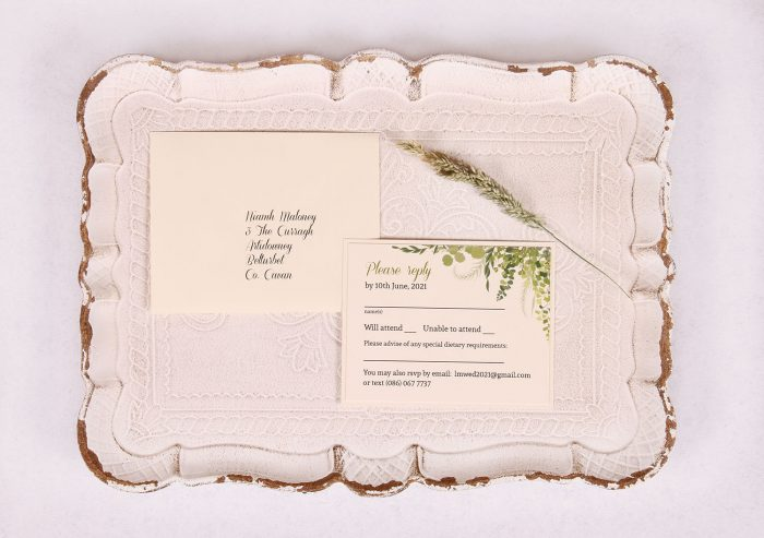 RSVP Wedding Card with Leaves & Twine Nádúr