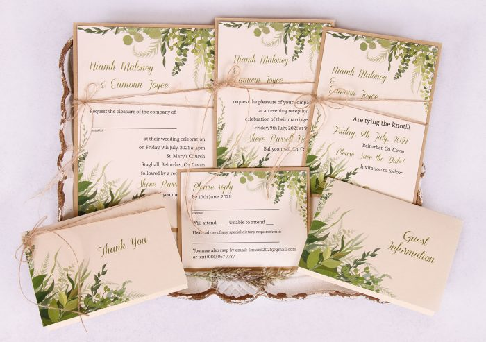 Wedding Invitation Suite - Kraft with Leaves Nádúr