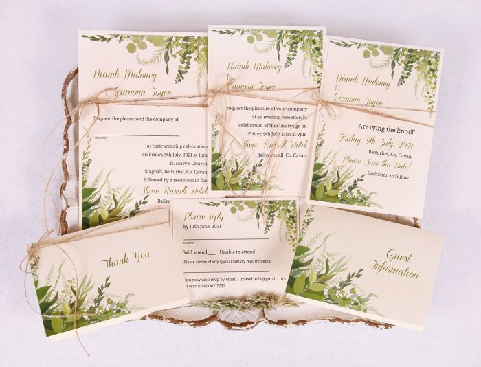 Wedding Invitation Suite with Leaves & Twine