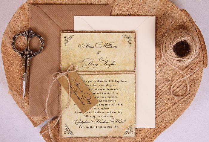Antique Vintage Wedding Invitation Close Up