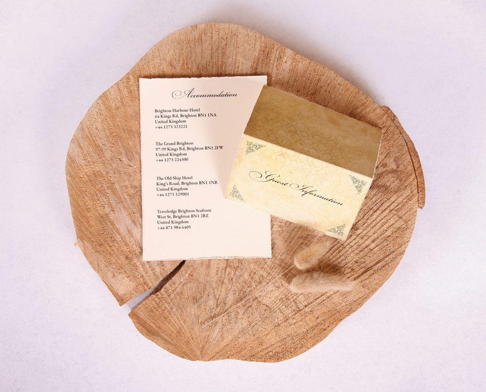 Antique Vintage Wedding Guest Information Card