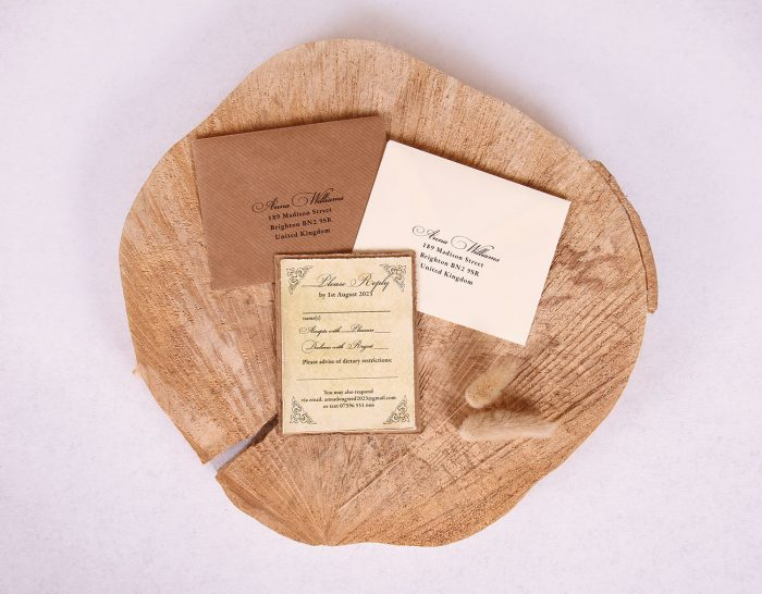 Antique Vintage Wedding RSVP Card