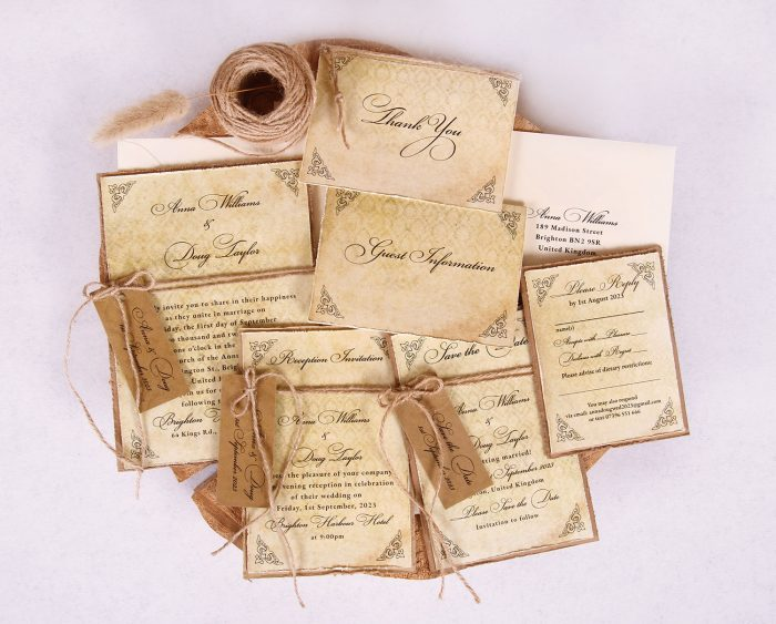 Antique Vintage Wedding Invitation Suite