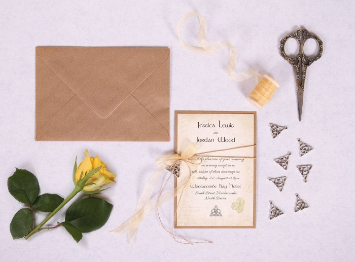 Celtic Charm Evening Invitation with Gold Ribbon