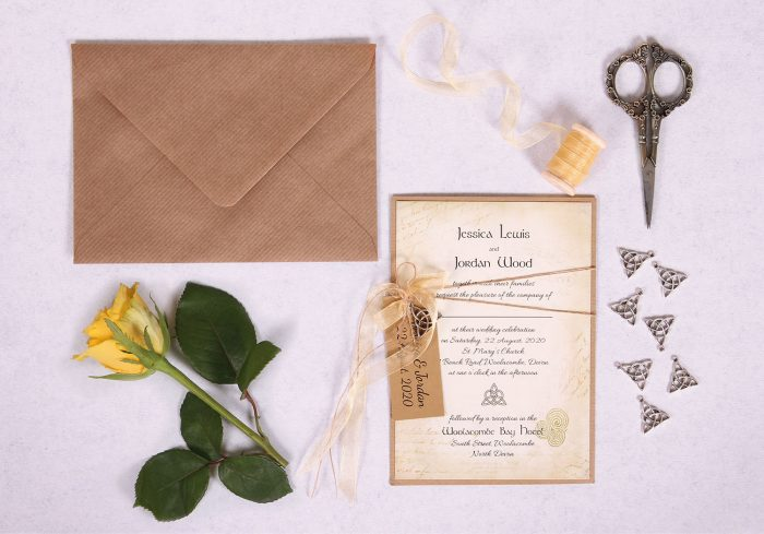 Celtic Charm Wedding Invitation with Gold Ribbon