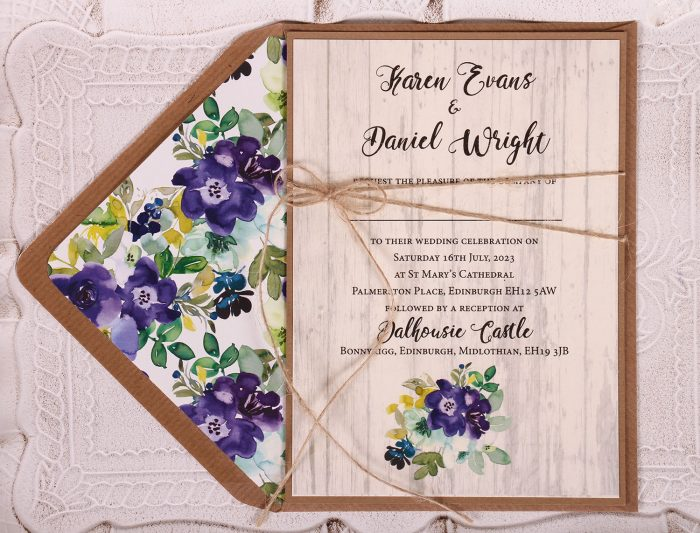 Country Bloom Wedding Invitation Close Up