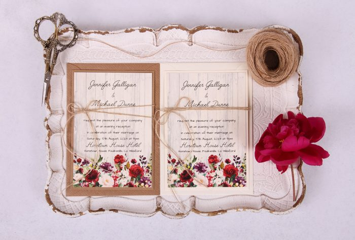 Country Rose Evening:Reception Invitation