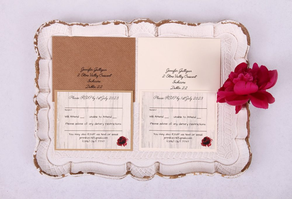 Country Rose RSVP Card