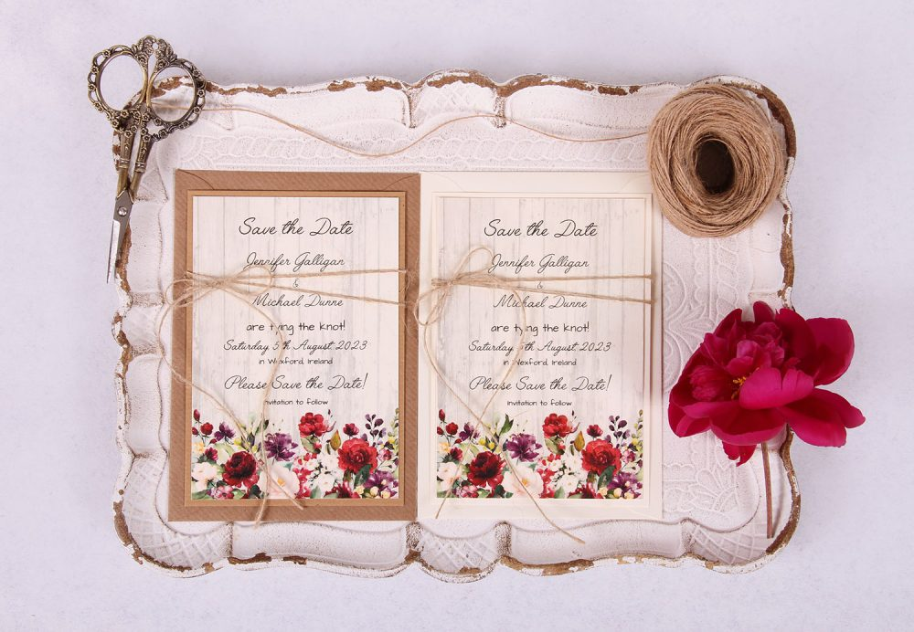 Country Rose Save the Date Card