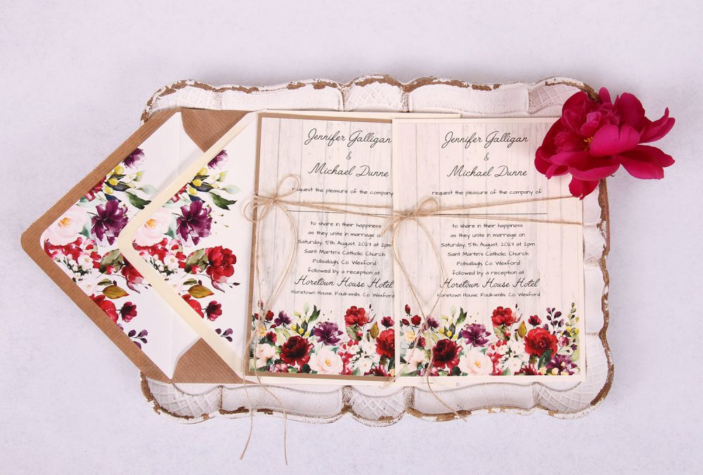 Country Rose Wedding Invitation