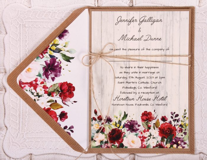 Country Rose Wedding Invitation Close Up