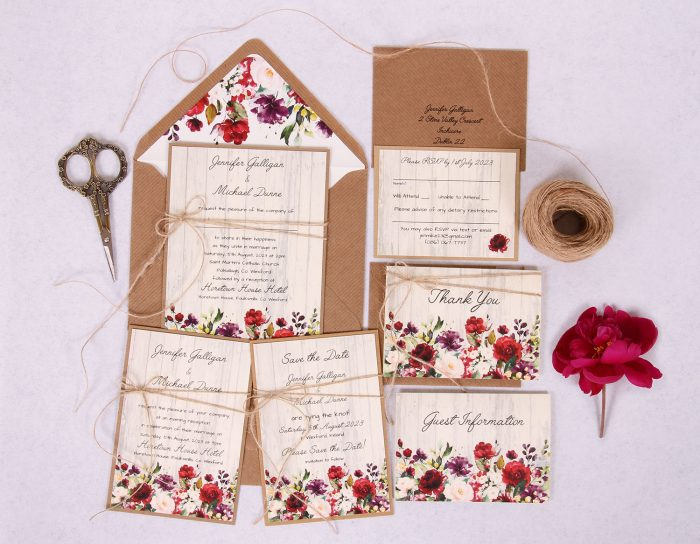 Country Rose Wedding Invitation Suite