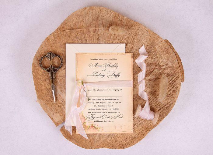 Elizabeth Vintage Wedding Invitation with Pink Ribbon