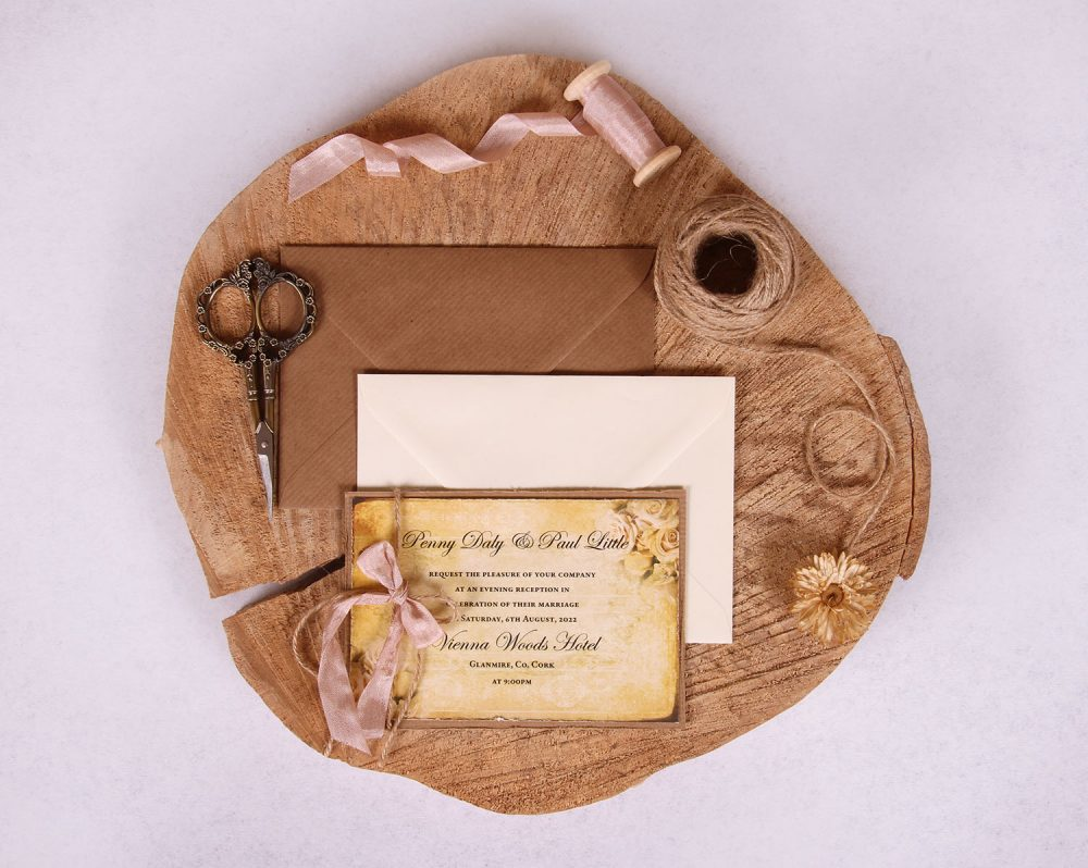 "Vintage Gold Evening Wedding Invitation ""Penny"""