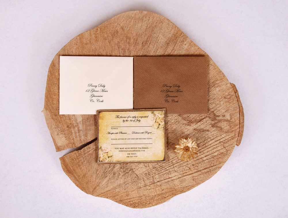 """Vintage Gold Wedding RSVP Card """"Penny"""""""