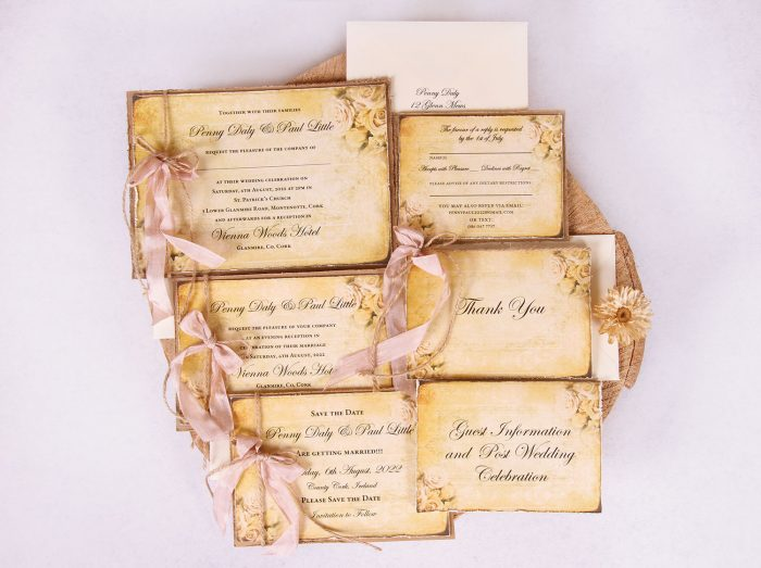 "Vintage Gold Wedding Invitation Suite ""Penny"""