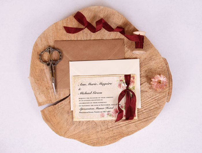 Victorian Rose Evening Wedding Invitation with Burgundy Ribbon