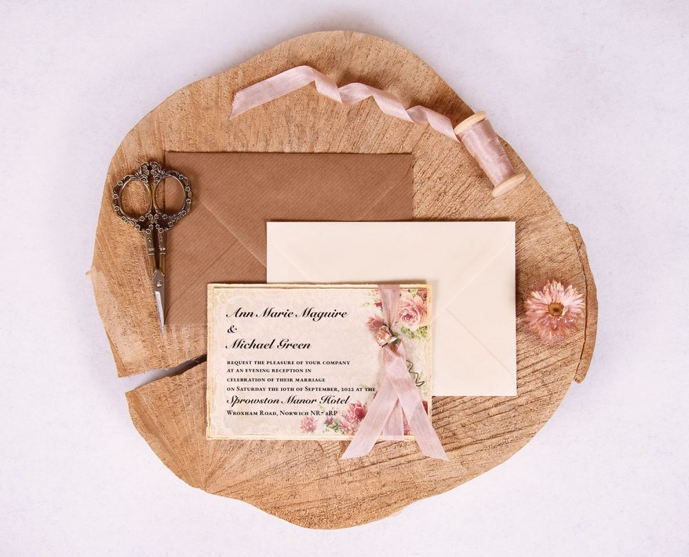 Victorian Rose Evening Invitation with Rose Beige Ribbon