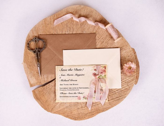 Victorian Rose Save the Date Card with Rose Beige Ribbon
