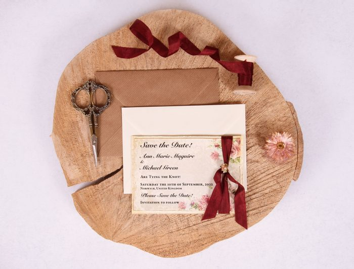 Victorian Rose Save the Date with Burgundy Ribbon