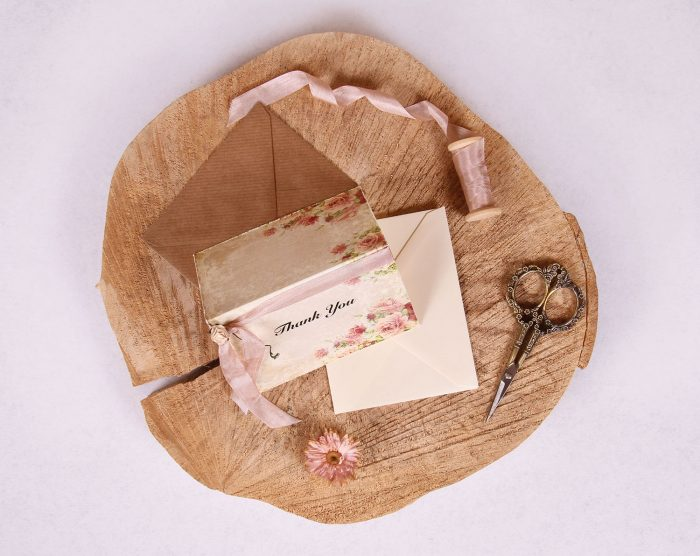 Victorian Rose Thank You Card Rose Beige Ribbon