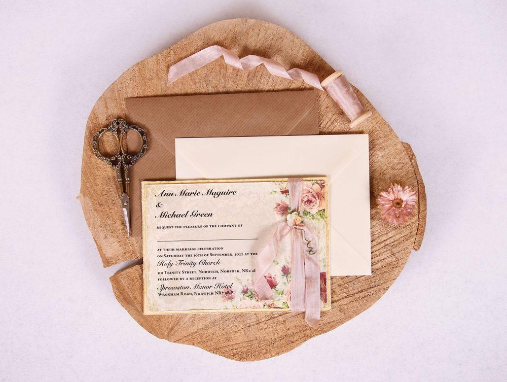 Victorian Rose Vintage Wedding Invitation