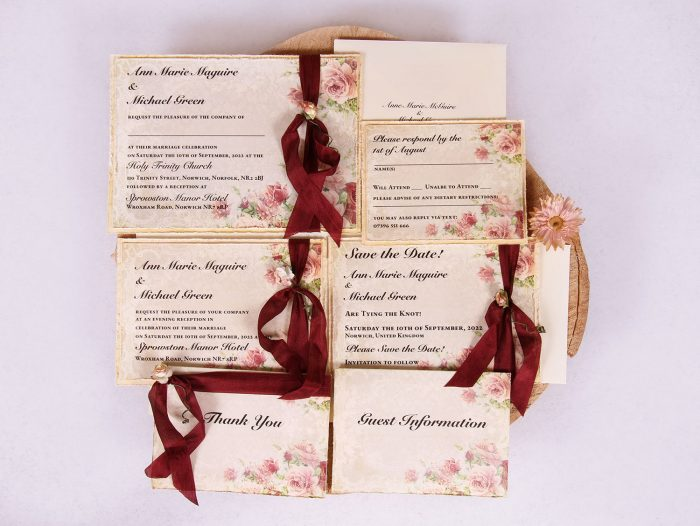 Victorian Rose Wedding Invitation Suite