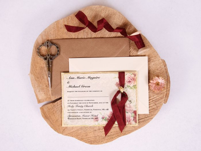 Victorian Rose Wedding Invitation with Burgundy Ribbon