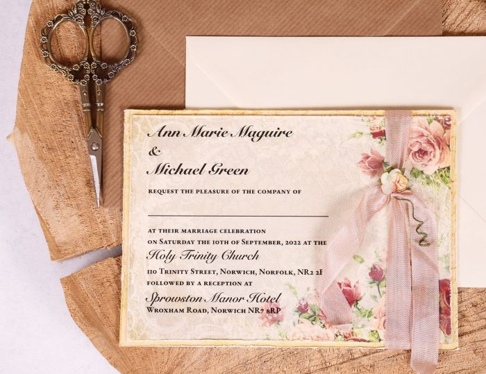 Victorian Rose Wedding Invitation Close Up with Rose Beige Ribbon