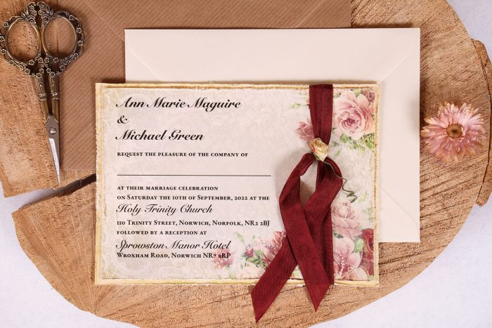 Victorian Rose Wedding invitation with Burgundy Ribbon Close Up