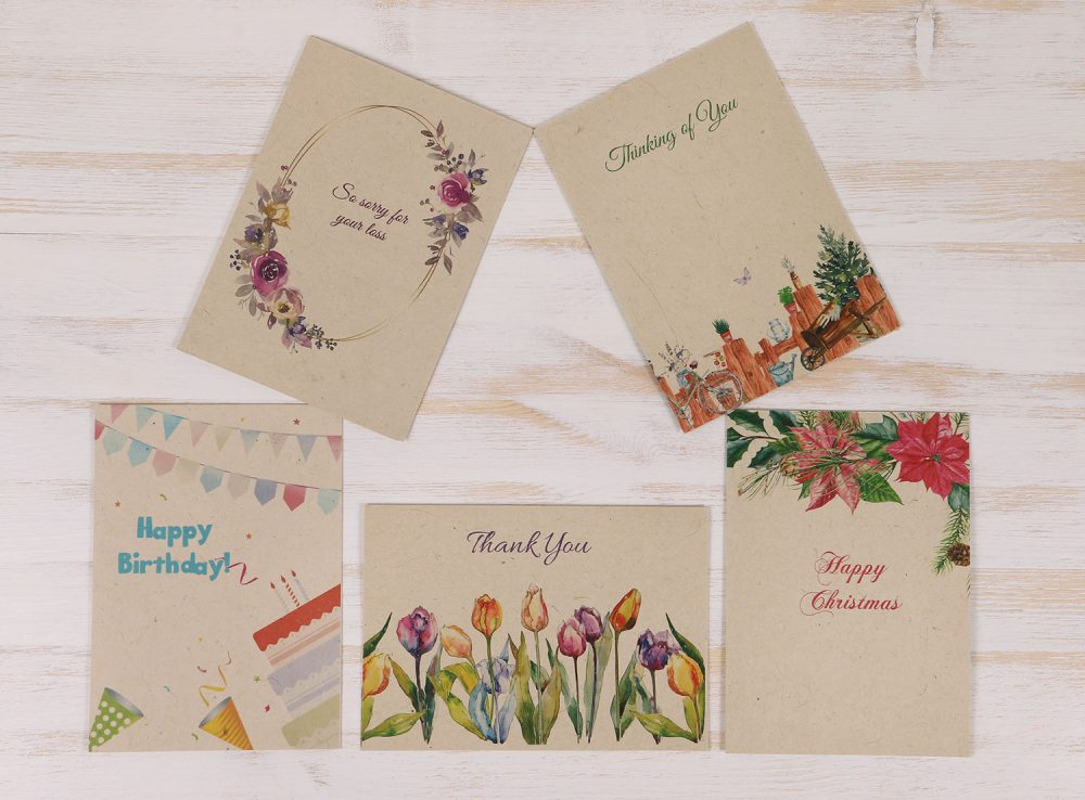 Variety Pack of 5 Plantable Cards & Envelopes