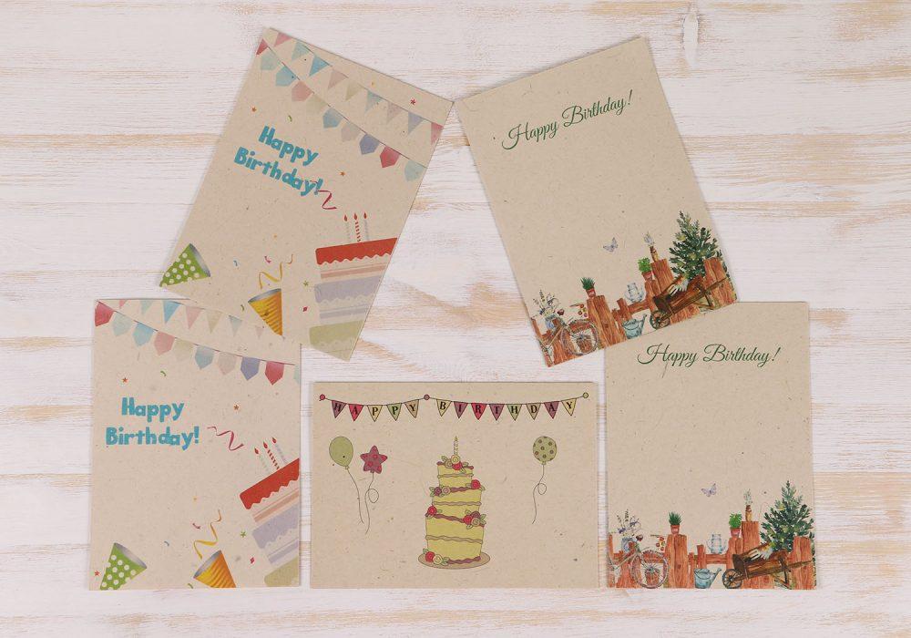 5 Pack Plantable Birthday Cards & Envelopes