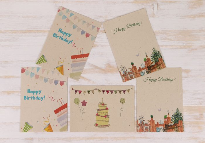 5 Pack Plantable Birthday Cards & Envelopes
