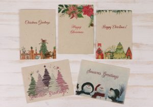 5 Pack Plantable Christmas Cards & Envelopes