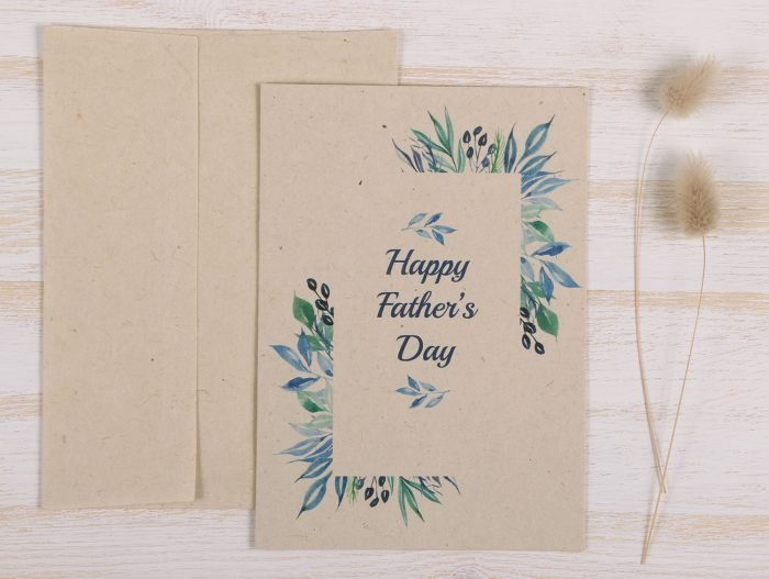 Plantable Fathers Day Card with Blue Frame - Front