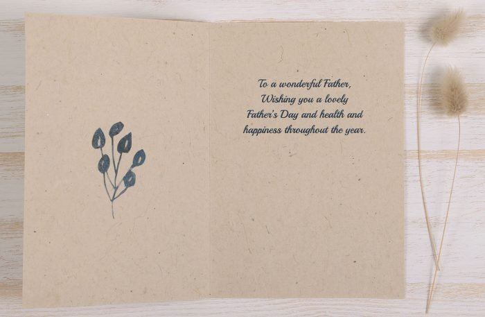 Plantable Fathers Day Card with Blue Frame - Inside