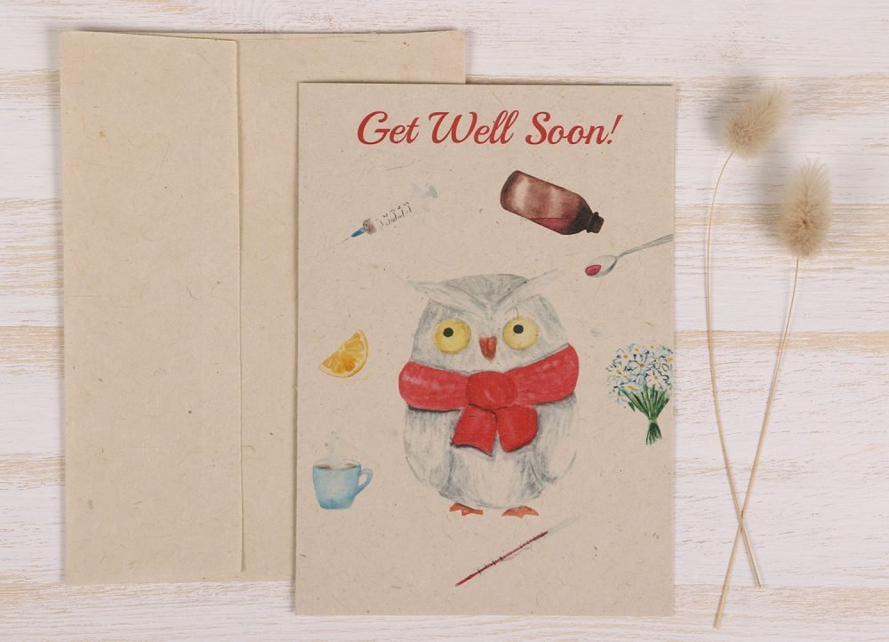 Get Well Soon Card Owl - Front