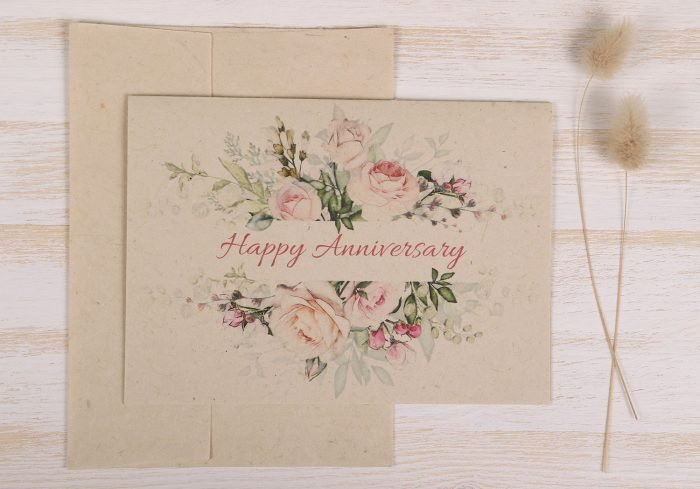Happy Anniversary Card to Parents Pastel Rose Front