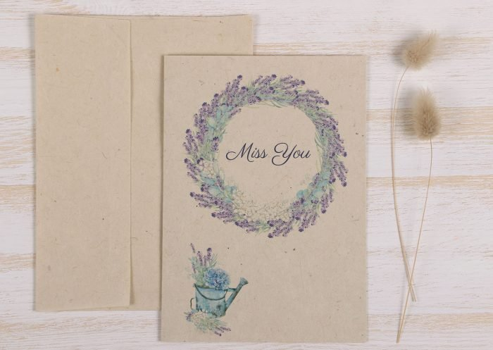 Plantable Miss You Card - Lavender - Front