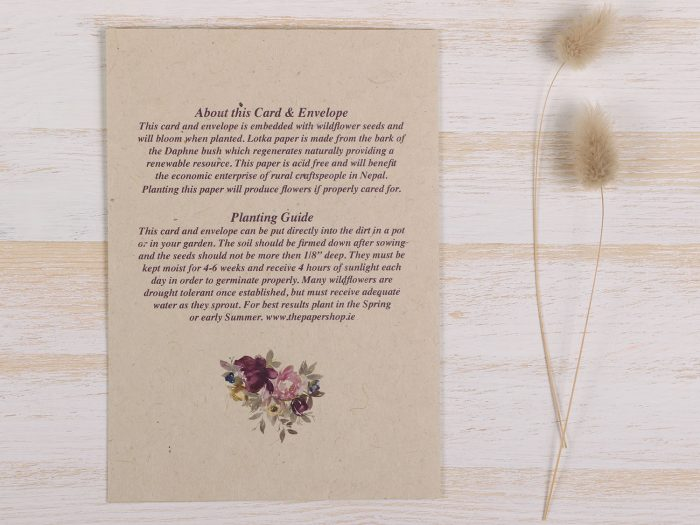 Plantable Mothers Day Card - Purple Wreath - Back