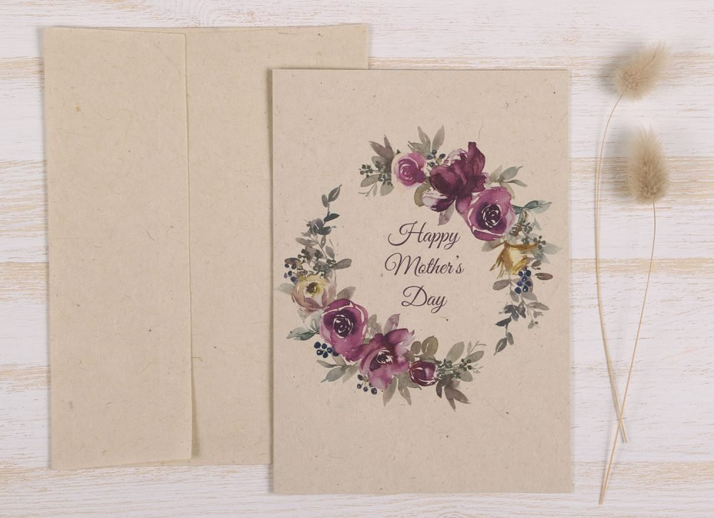 Plantable Mothers Day Card - Purple Wreath - Front