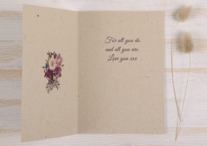 Plantable Mothers Day Card - Purple Wreath - Inside
