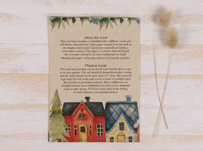 Plantable Christmas Card - Christmas Village - Back