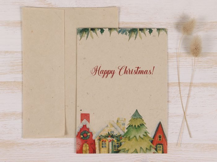 Plantable Christmas Card - Christmas Village - Front