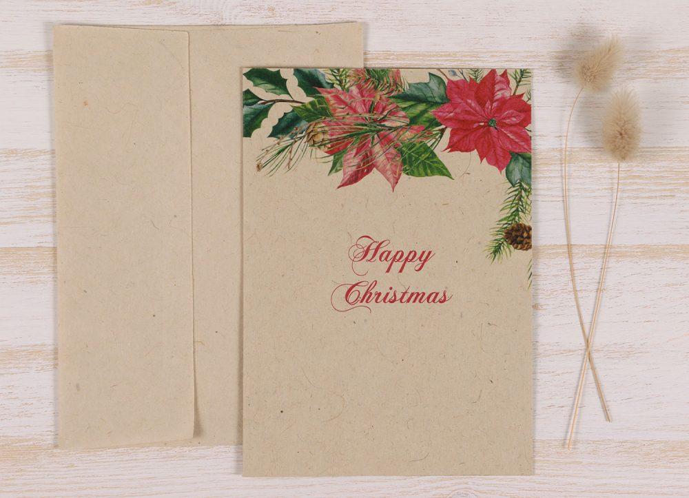 Plantable Christmas Card - Poinsettia - Front