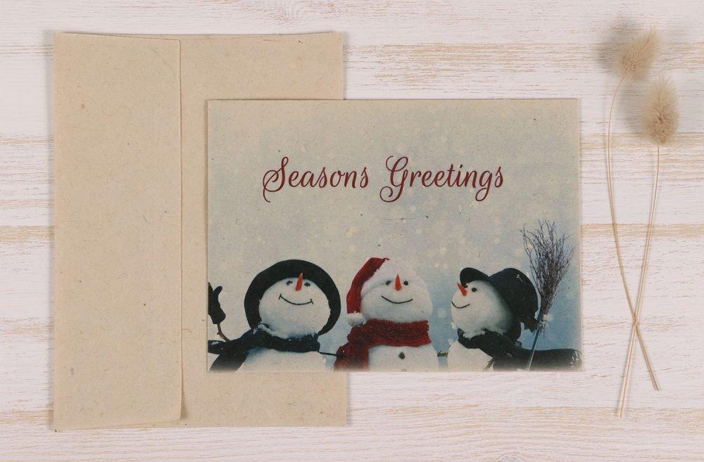 Plantable Christmas Card - Snowmen - Front