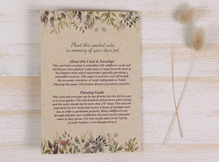 Plantable Condolence Card - Botanical - Back