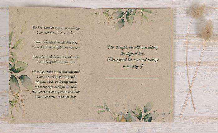 Plantable Condolence Card - Eucalyptus - Inside