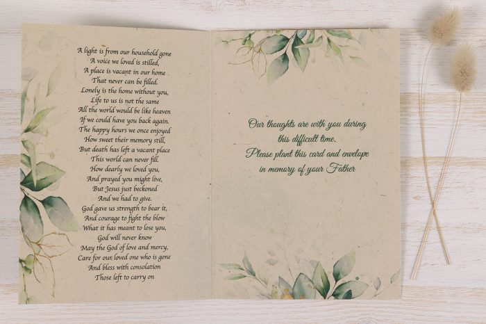 Plantable Condolence Card - Father Eucalyptus - Inside
