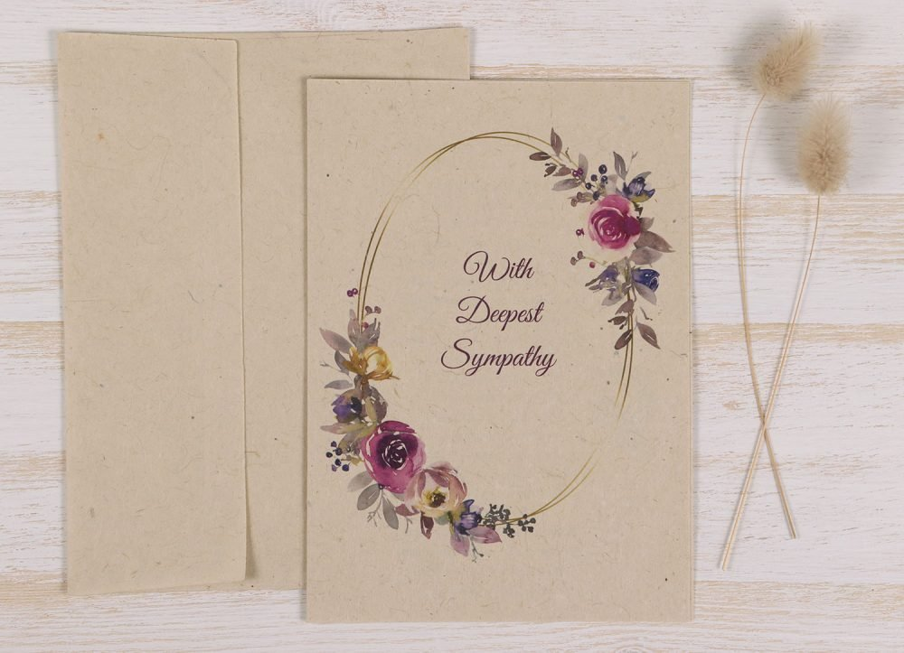 Plantable Condolence Card - Father Floral Wreath - Front